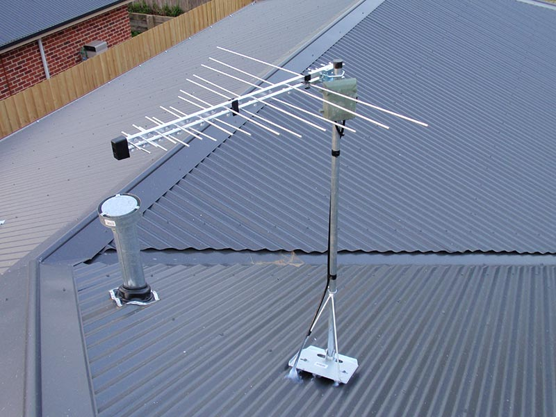 Tv Antenna installation on a colorbond roof