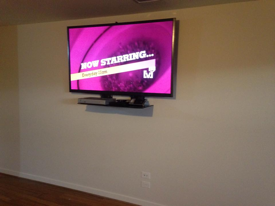 Tv Wall Mounted With Double Shelf