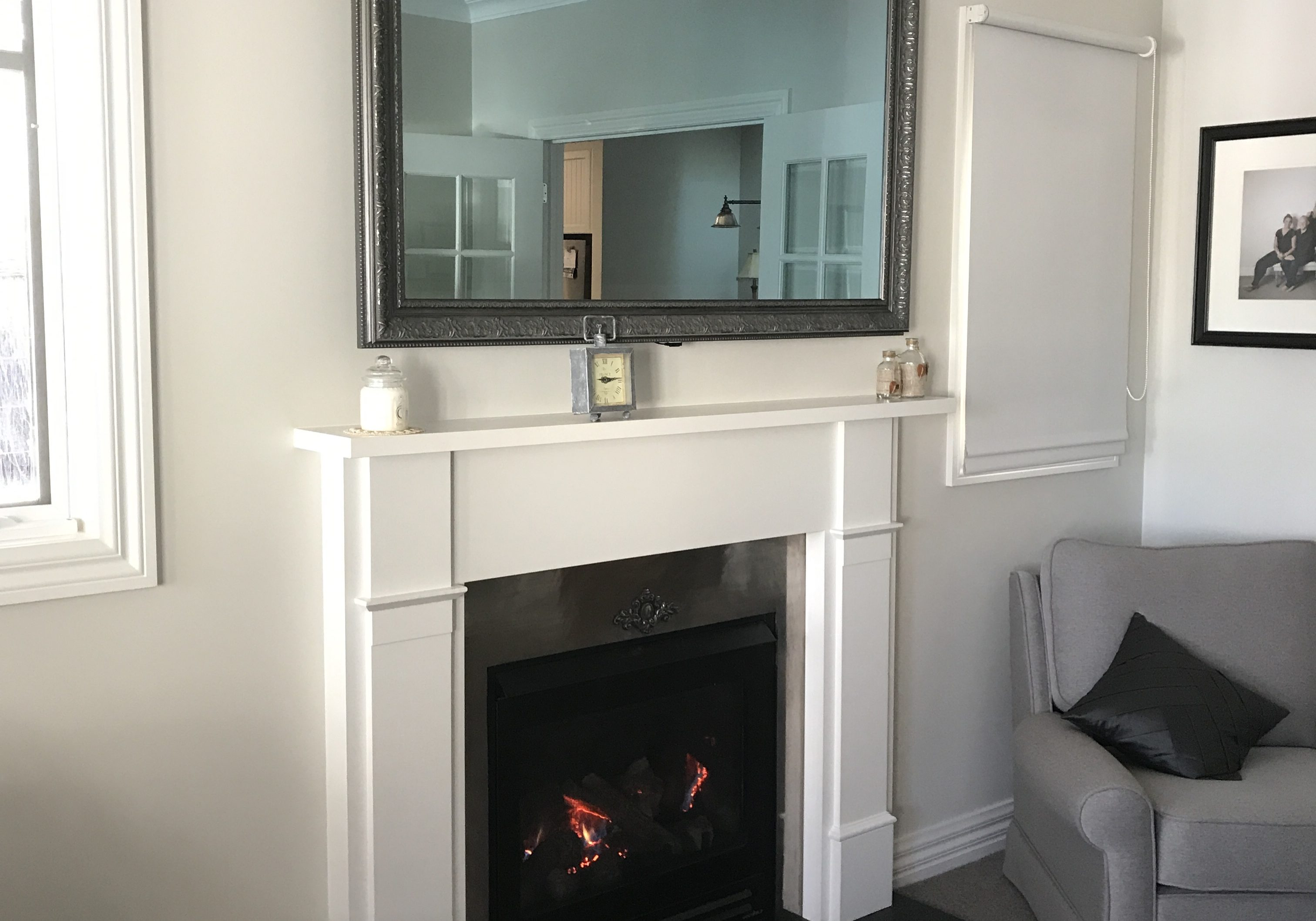 Samsung LED Mirror TV - Hidden Television over a fire place framed
